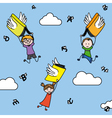 letters and books with wings carry children vector image