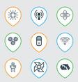 set of 9 robotics icons includes wireless vector image
