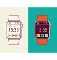 Smart watch designs in outline style with app icon vector image