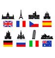 Europe Travel Landmarks icon set vector image