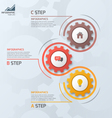 vertical timeline infographic template with gears vector image