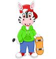 funny zebra cartoon playing skateboard vector image vector image
