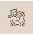 Loudspeakers with music note sketch icon vector image vector image