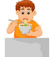 cute boy cartoon eating noodle with sweating vector image