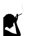 girl thinks and smokes a cigarette a vector illust vector image