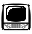 Retro Black and white vintage TV on white vector image