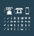 retro phone icon set vintage white icons vector image