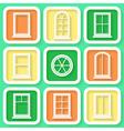 Set of 9 retro icons of windows vector image