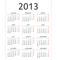 Simple 2013 calendar Vector Image