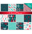 Collection of nine hand drawn winter holidays vector image