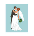 hand drawn abstract wedding hugging and vector image