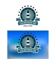 Nautical emblem with a lighthouse vector image vector image