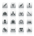 medical themed icons and warning-signs vector image