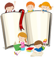 Book design with children reading books vector image