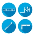 Building tool icon set Rule clinometer angle vector image