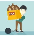 Chinese businessman locked in debt vector image