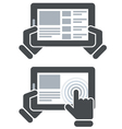 Hands holding tablet computer and open website vector image