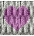 Seamless background with pink knitted heart vector image
