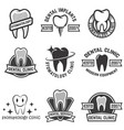 set of stomatology labels isolated on white vector image