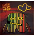 Monster with heart on grunge color background vector image