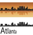 Atlanta skyline in orange background vector image