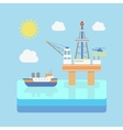 Drilling rig at sea Oil platform gas fuel vector image