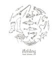 Fishing tackle tools Sketches Hand-drawing vector image