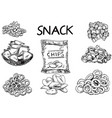 ink hand drawn sketch style snack set vector image