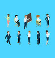 isometric business people in different action vector image