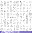 100 adult games icons set outline style vector image