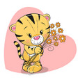 greeting card cute tiger with flowers vector image
