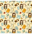 Seamless pattern with cute little girl vector image