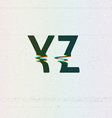 CMYK Print Distortion Font from Y to Z vector image vector image