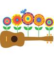 ukulele flowers vector image