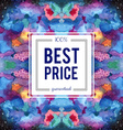 Sale sign on abstract cosmic watercolor background vector image