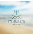logo of palm on island and waves vector image vector image