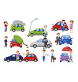 car crash and accident set car insurance cartoon vector image