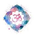 Om sign in lotus flower vector image