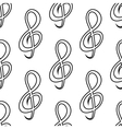 Seamless doodle treble clef pattern vector image