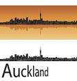 Auckland skyline in orange background vector image vector image