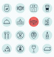 set of 16 eating icons includes dining room vector image