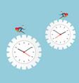 businessman running on cog gear wheel clock vector image