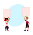 two kids holding blank empty posters boards over vector image