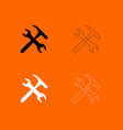wrench and hammer black and white set icon vector image