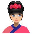 geisha flowers in her head vector image