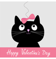 Black cat with pink bow Happy Valentines Day vector image