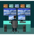 Security room in which working professionals vector image