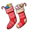 colorful sketch of christmas socks vector image
