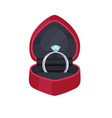 engagement ring in velvet box with precious stone vector image