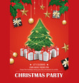 invitation merry christmas red party poster vector image